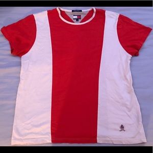 Tommy Hilfiger Orange & White Striped Tee.